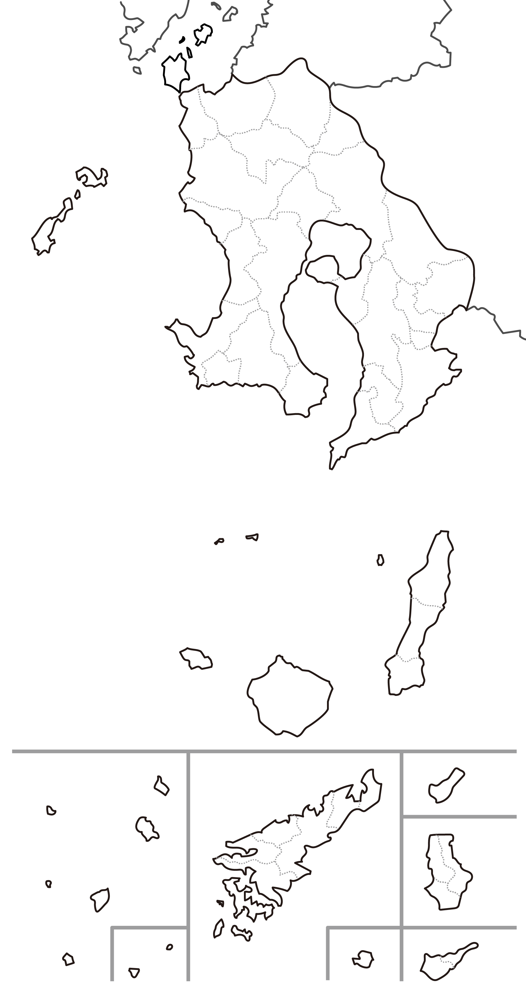 [白地図]鹿児島県・ラインあり・市区町村名なし・隣県なし