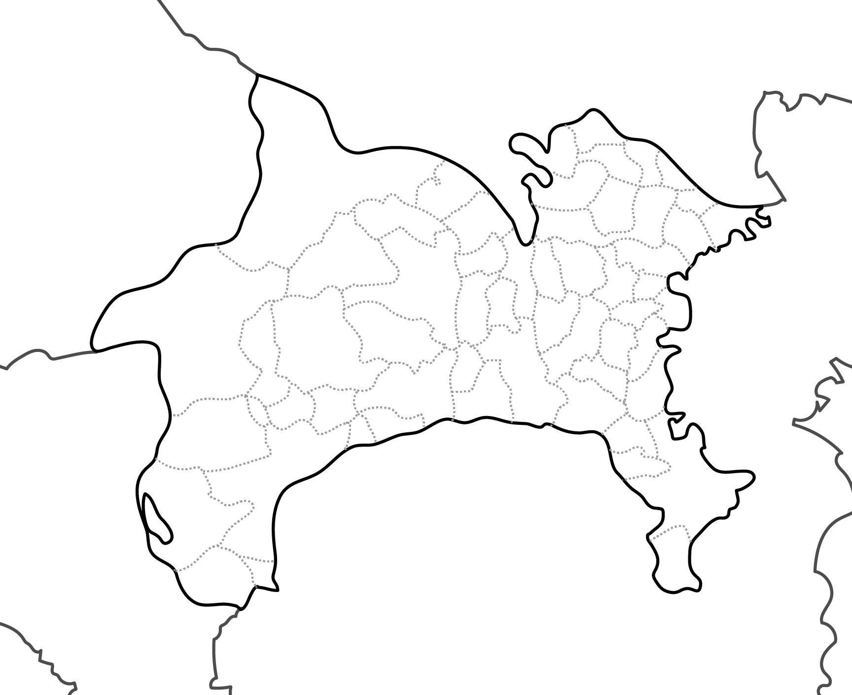 [白地図]神奈川県・ラインあり・市区町村名なし・隣県なし