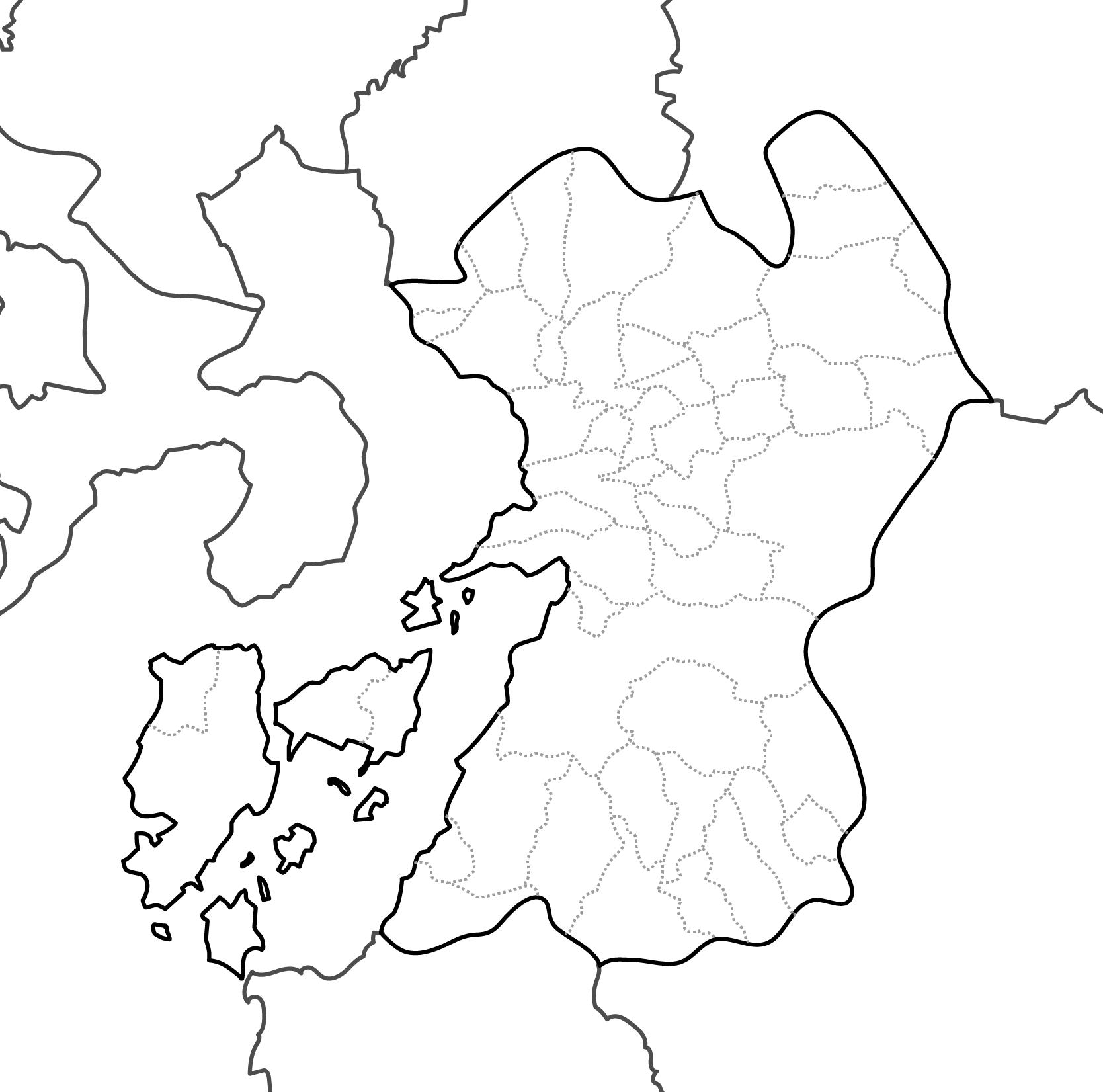 [白地図]熊本県・ラインあり・市区町村名なし・隣県なし