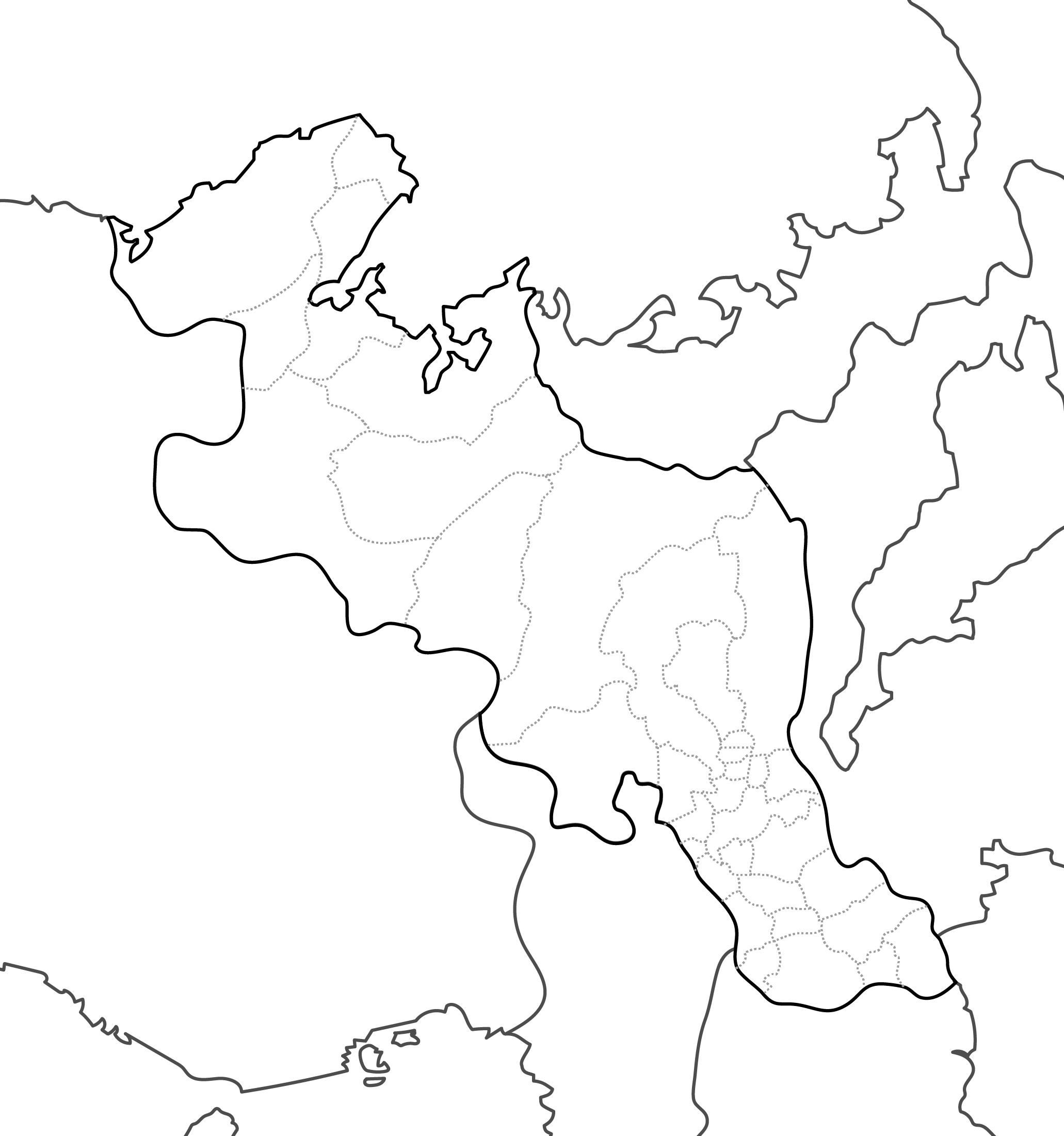 [白地図]京都府・ラインあり・市区町村名なし・隣県なし