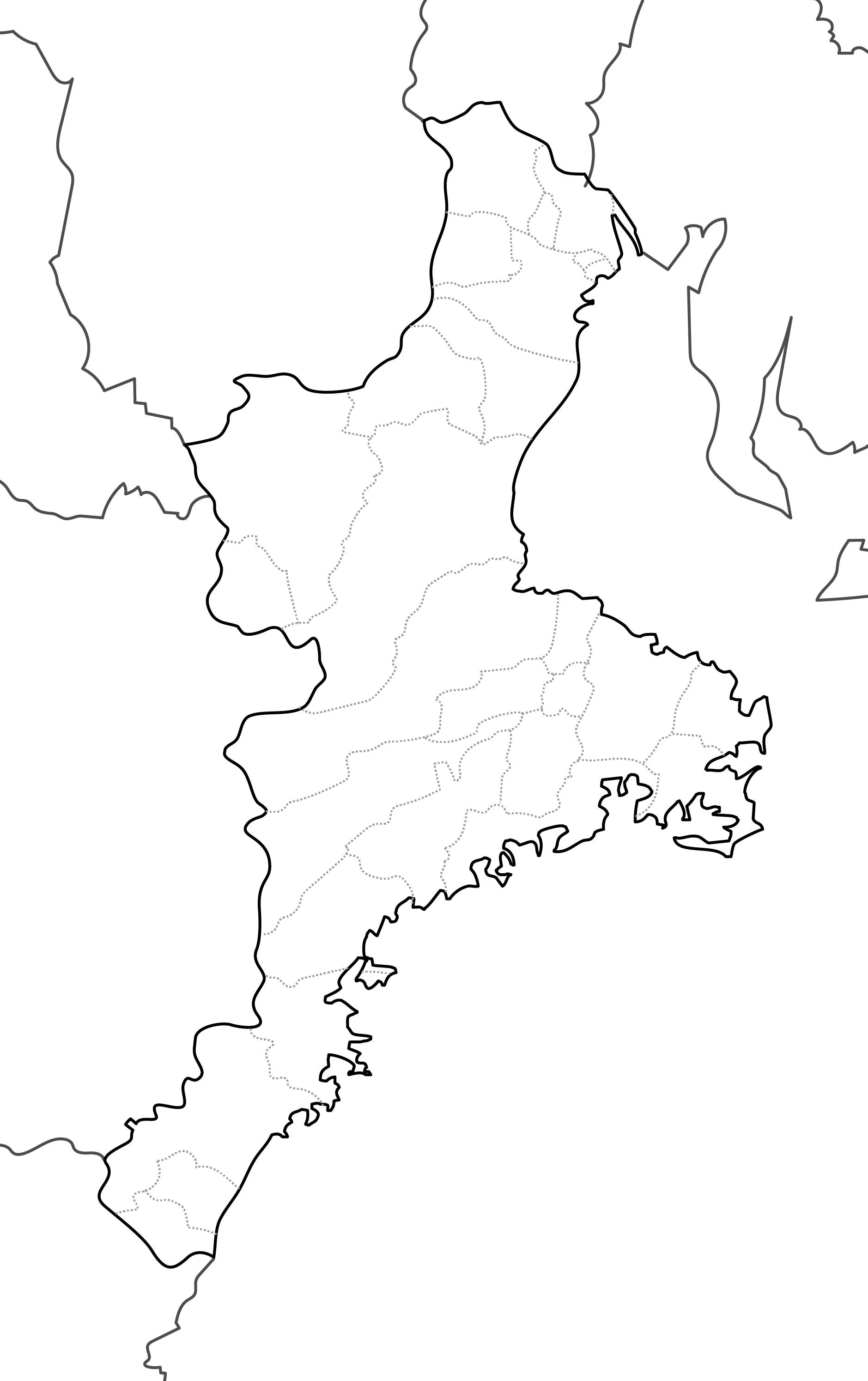 [白地図]三重県・ラインあり・市区町村名なし・隣県なし