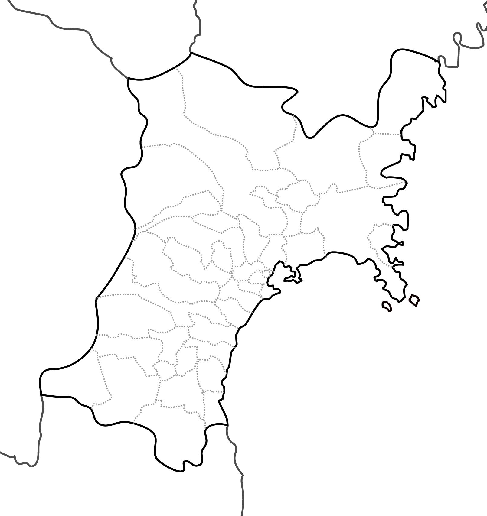 [白地図]宮城県・ラインあり・市区町村名なし・隣県なし