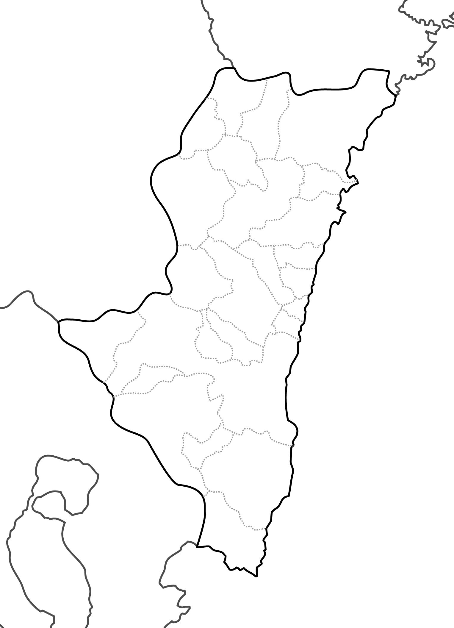 [白地図]宮崎県・ラインあり・市区町村名なし・隣県なし