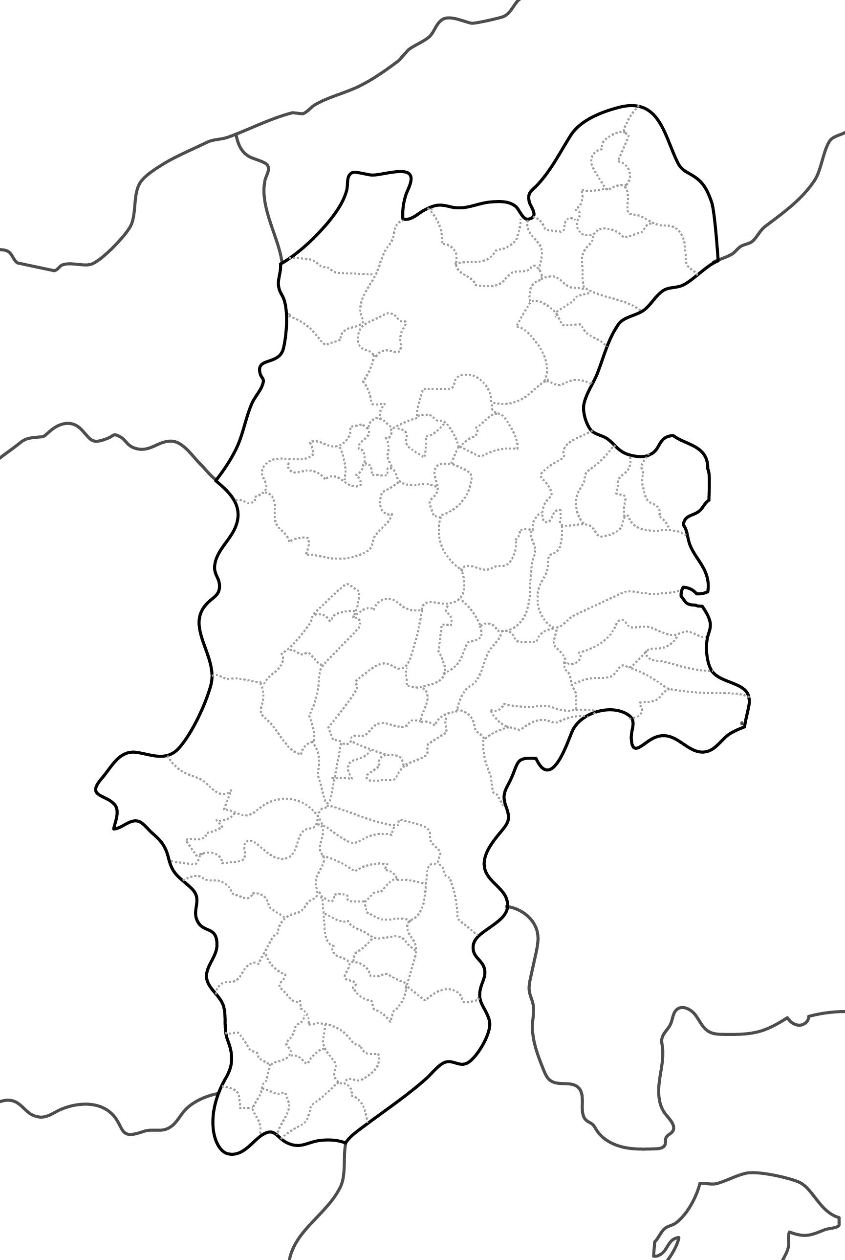 [白地図]長野県・ラインあり・市区町村名なし・隣県なし
