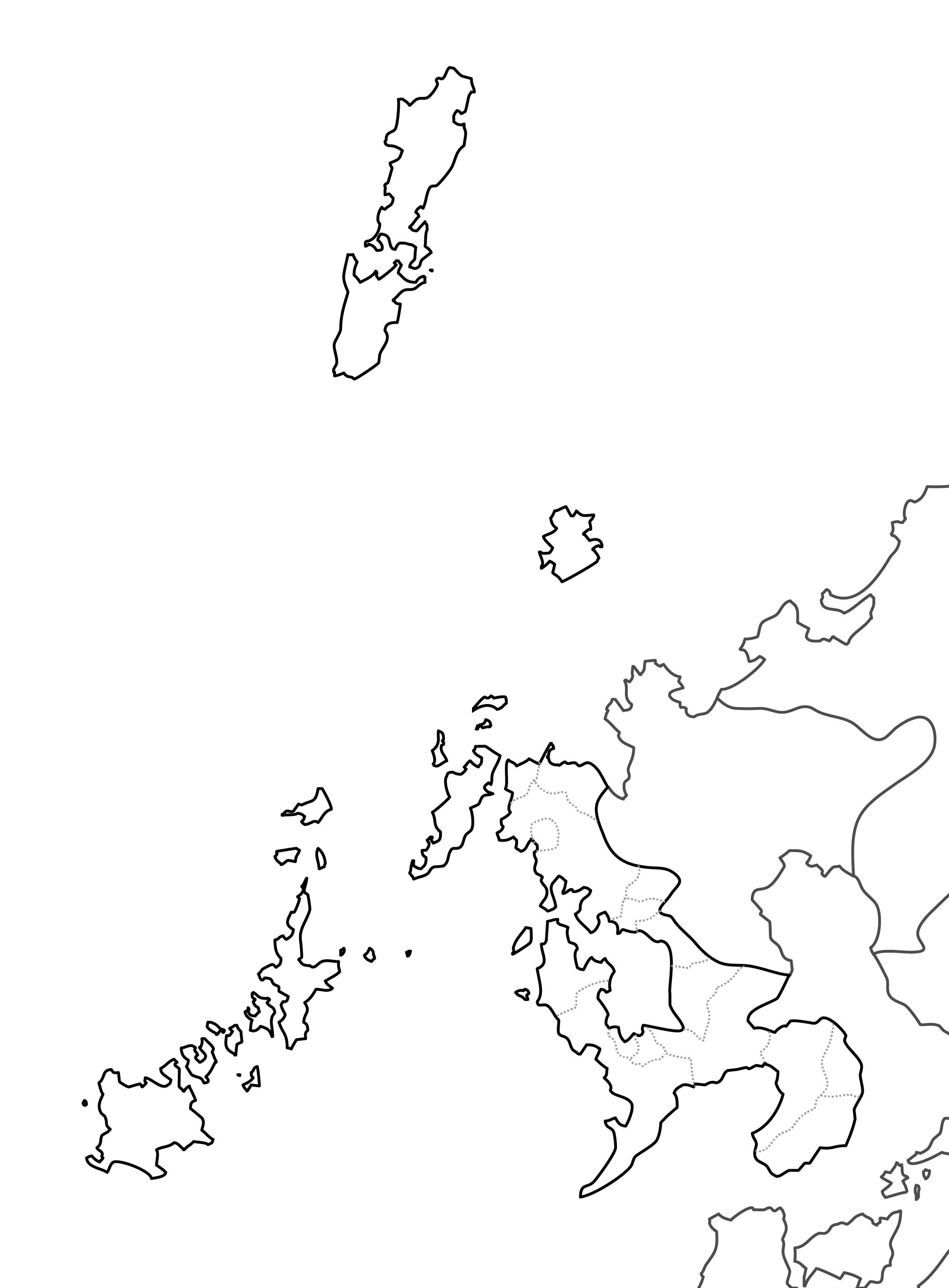 [白地図]長崎県・ラインあり・市区町村名なし・隣県なし
