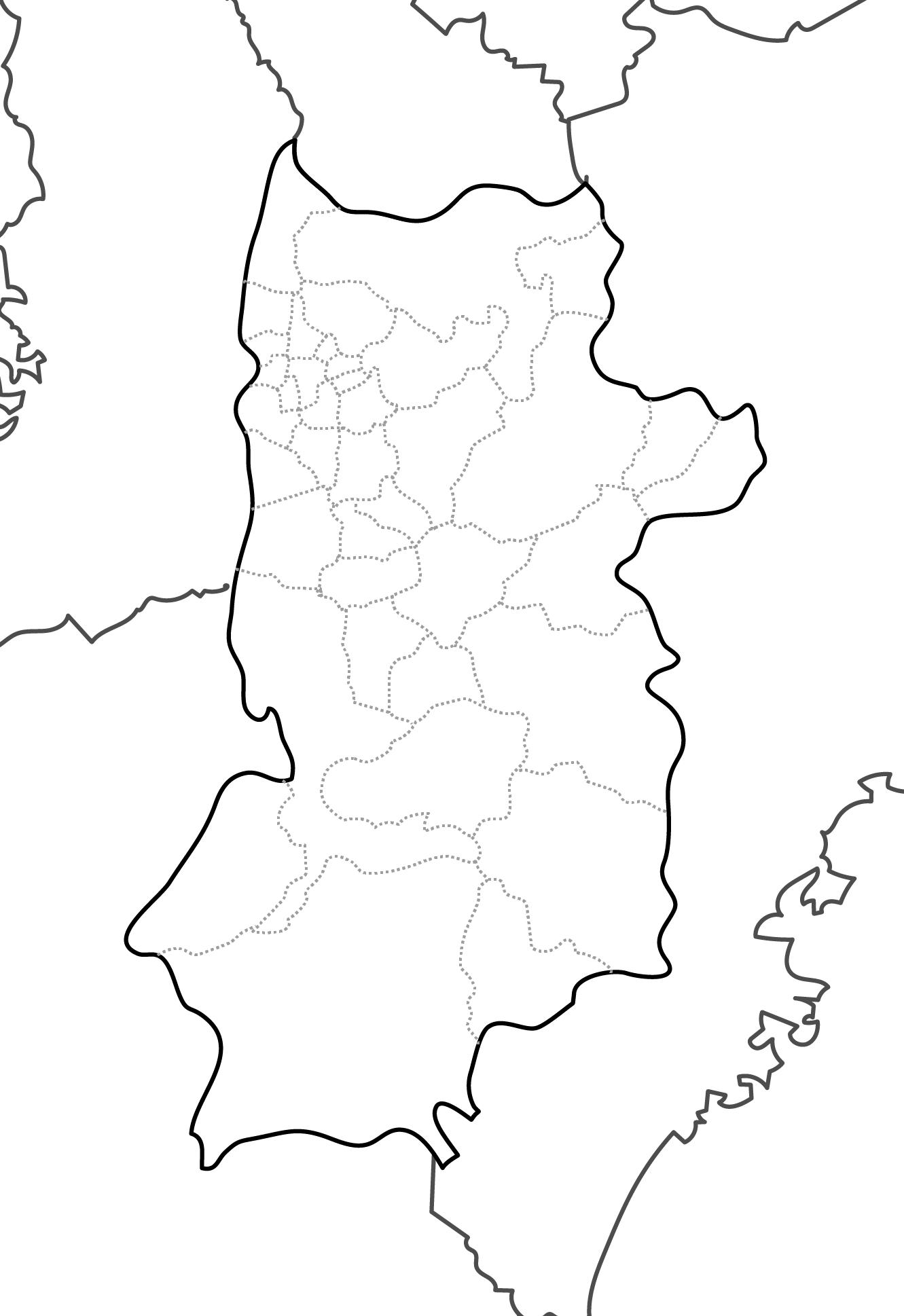 [白地図]奈良県・ラインあり・市区町村名なし・隣県なし