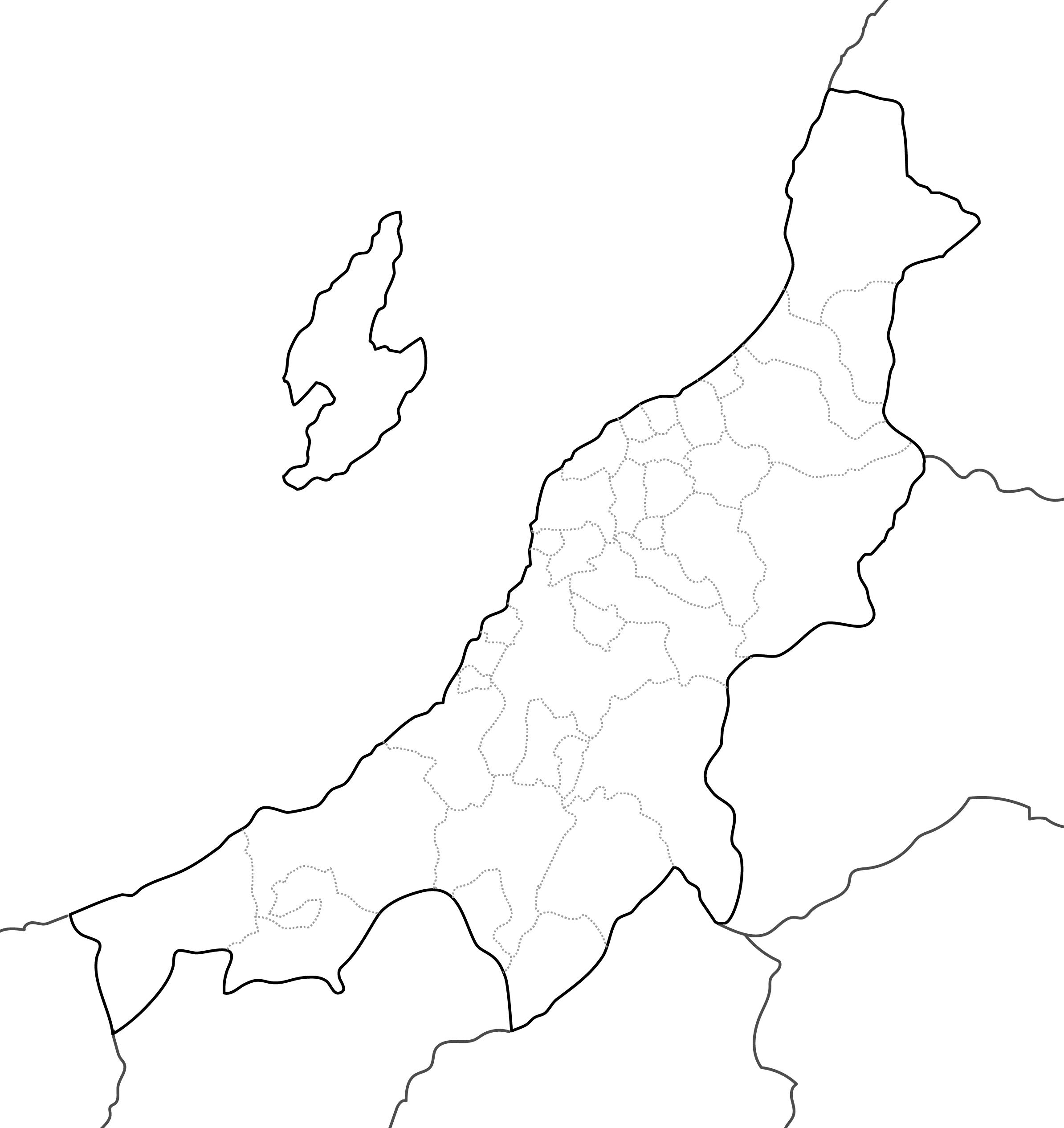 [白地図]新潟県・ラインあり・市区町村名なし・隣県なし