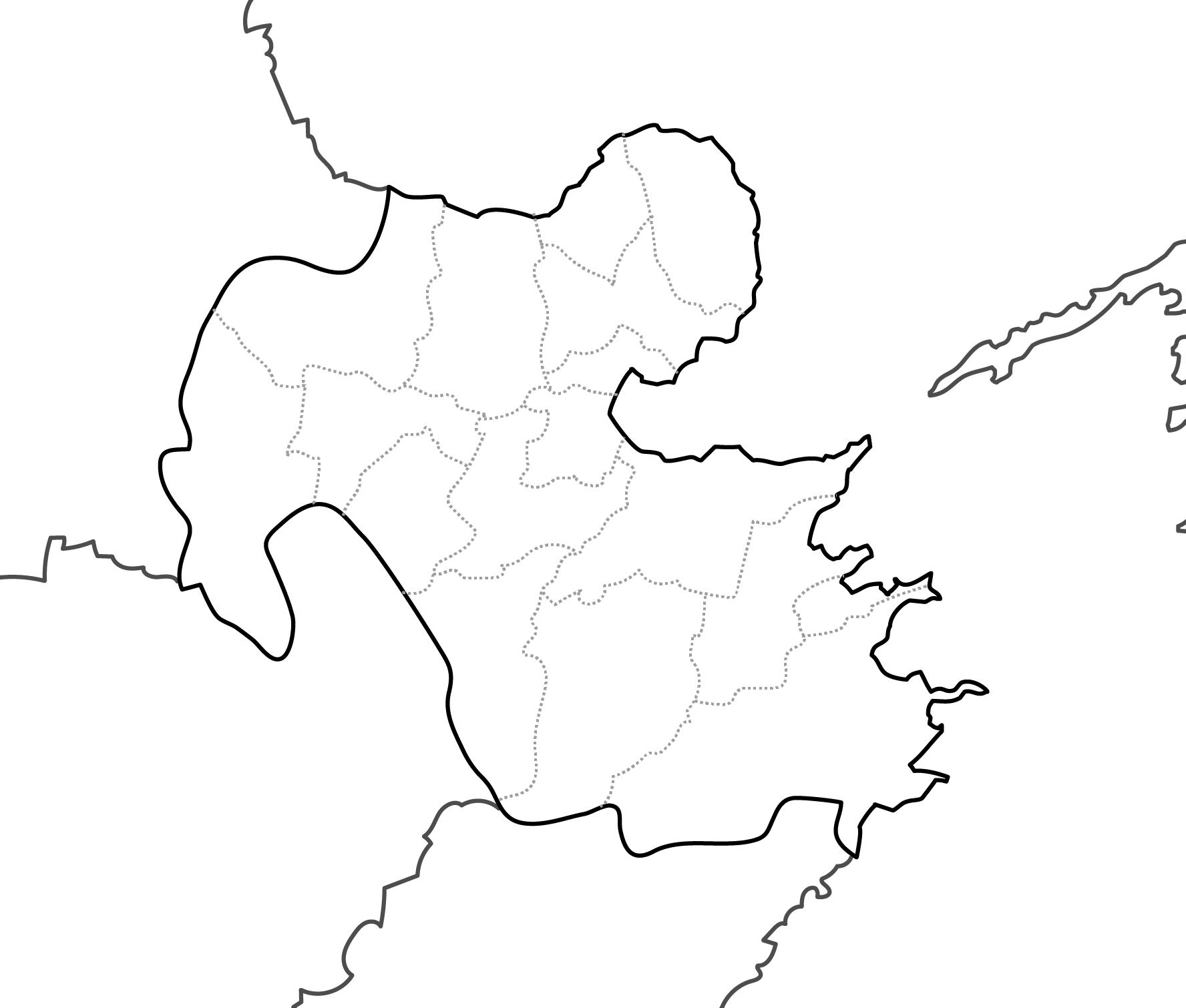 [白地図]大分県・ラインあり・市区町村名なし・隣県なし