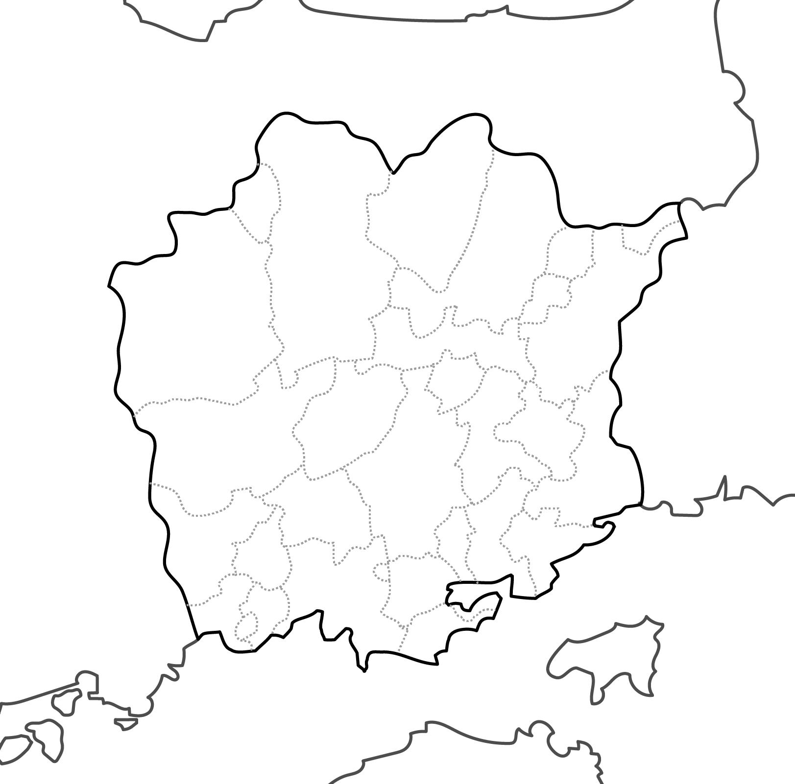 [白地図]岡山県・ラインあり・市区町村名なし・隣県なし
