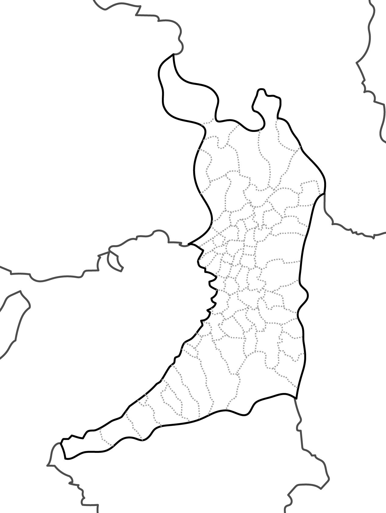 [白地図]大阪府・ラインあり・市区町村名なし・隣県なし
