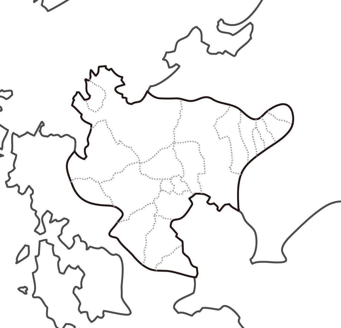 [白地図]佐賀県・ラインあり・市区町村名なし・隣県なし