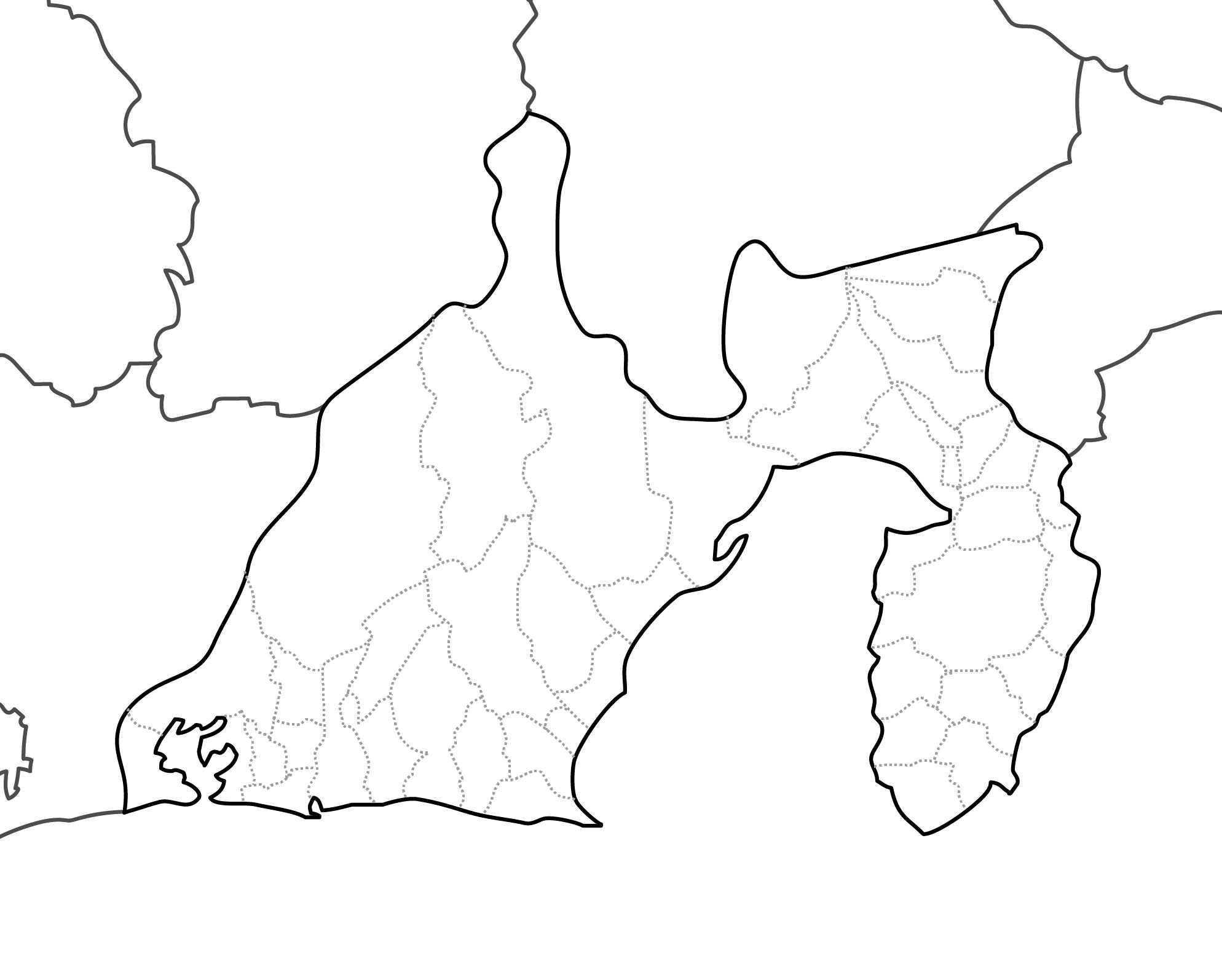 [白地図]静岡県・ラインあり・市区町村名なし・隣県なし