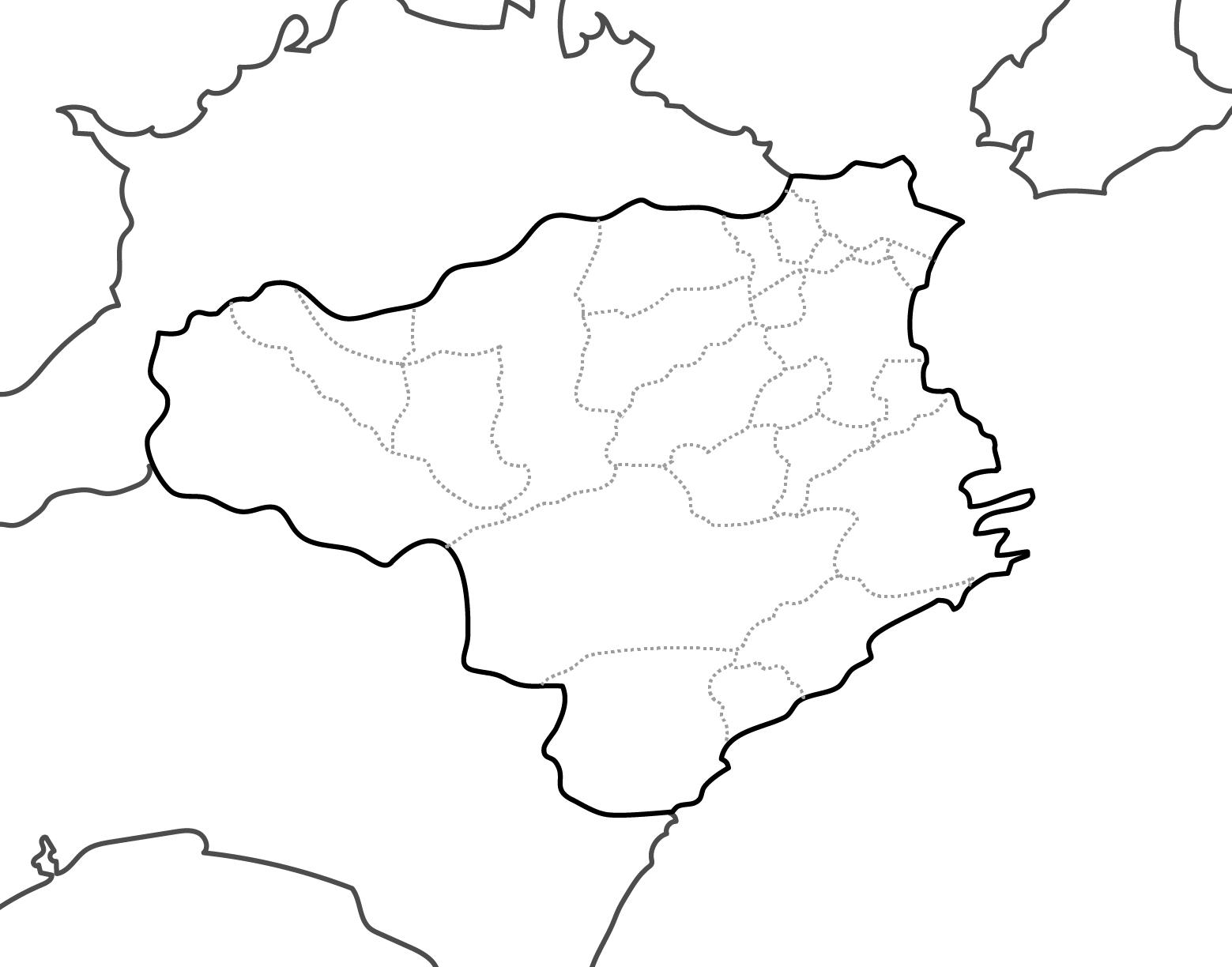 [白地図]徳島県・ラインあり・市区町村名なし・隣県なし