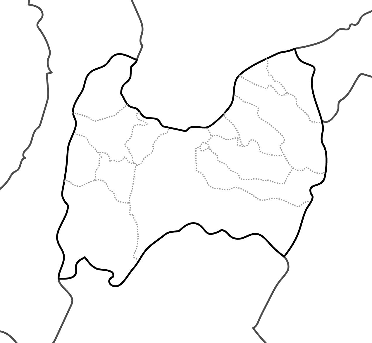 [白地図]富山県・ラインあり・市区町村名なし・隣県なし