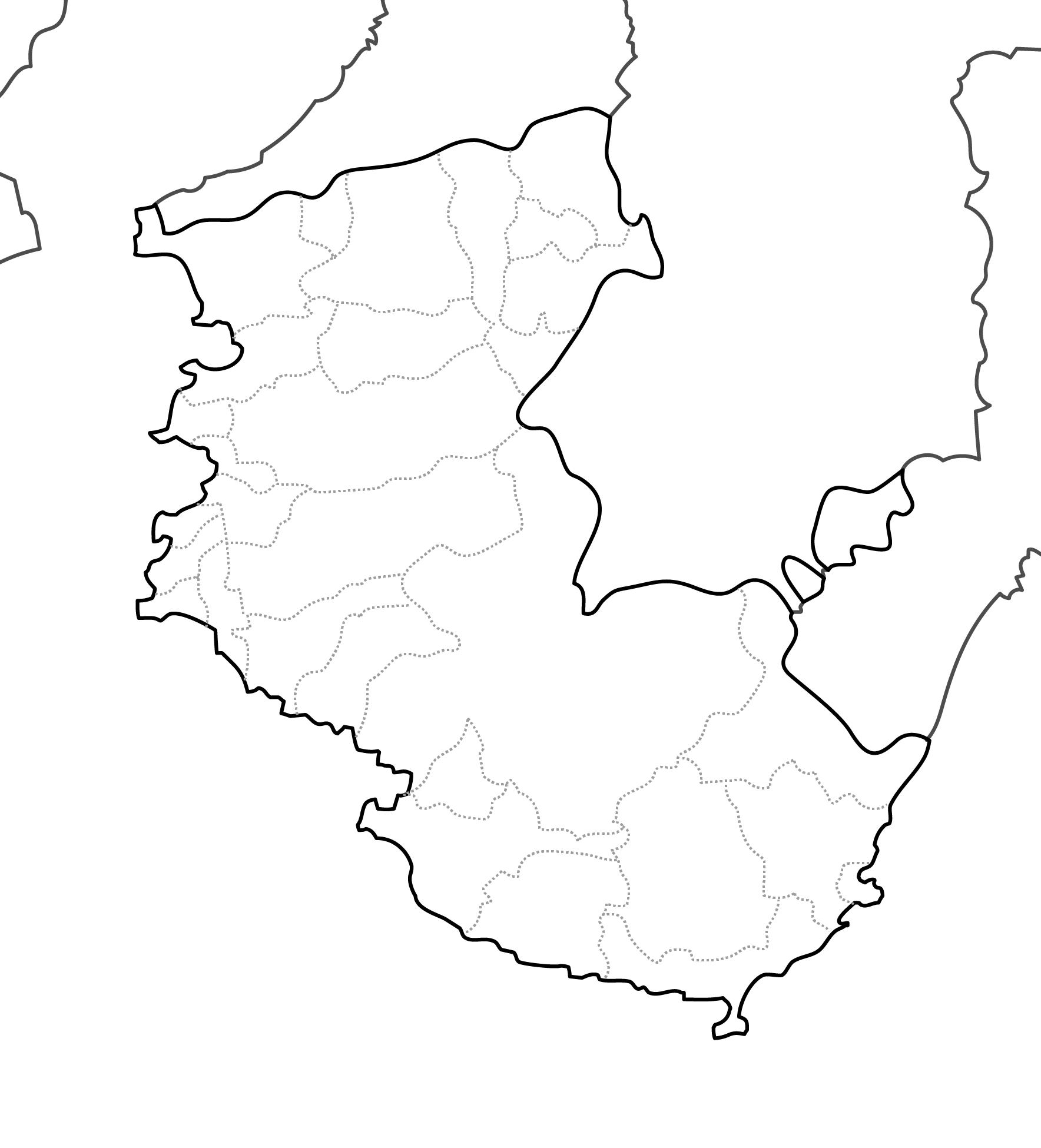 [白地図]和歌山県・ラインあり・市区町村名なし・隣県なし