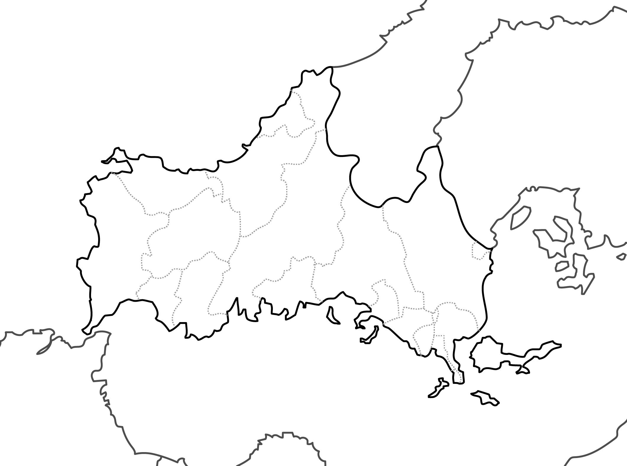 [白地図]山口県・ラインあり・市区町村名なし・隣県なし