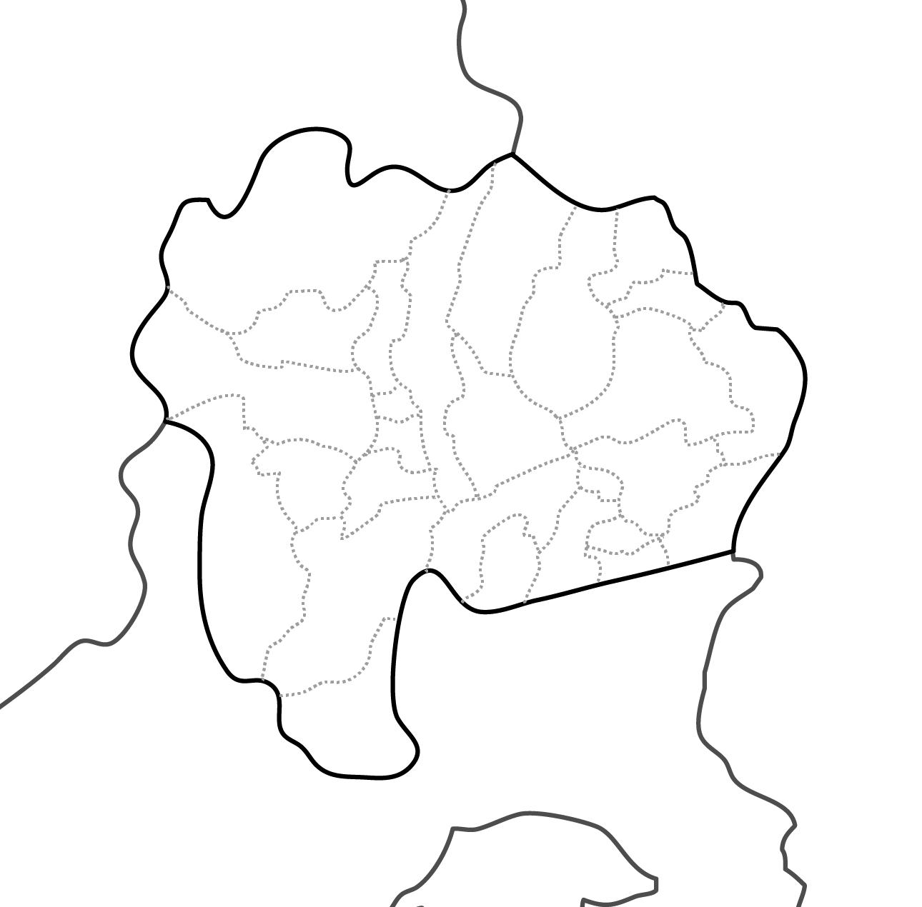 [白地図]山梨県・ラインあり・市区町村名なし・隣県なし