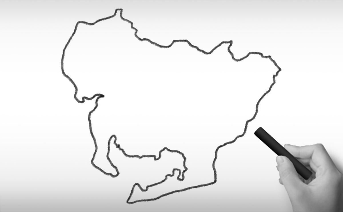 愛知県の白地図イラスト