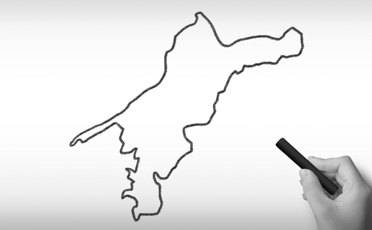 愛媛県の白地図イラスト