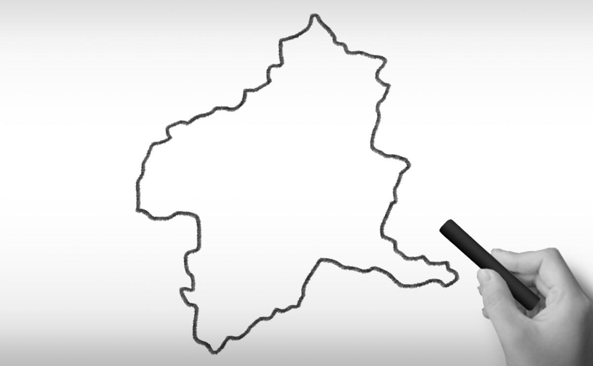 群馬県の白地図イラスト