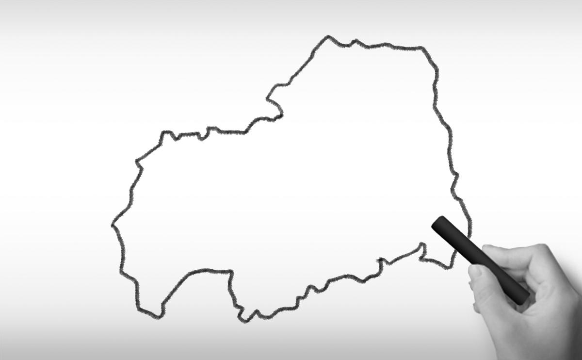 広島県の白地図イラスト