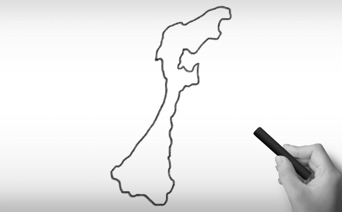 石川県の白地図イラスト