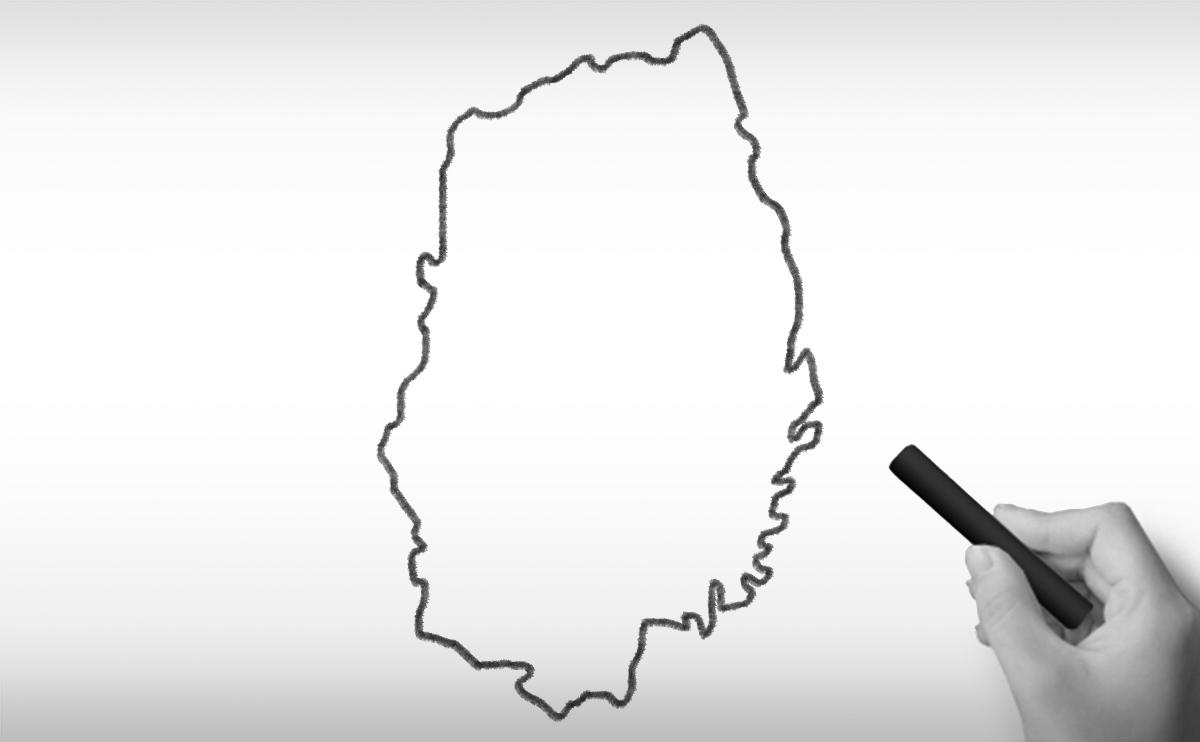 岩手県の白地図イラスト