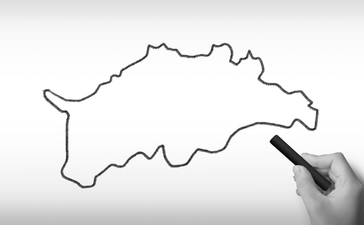 香川県の白地図イラスト