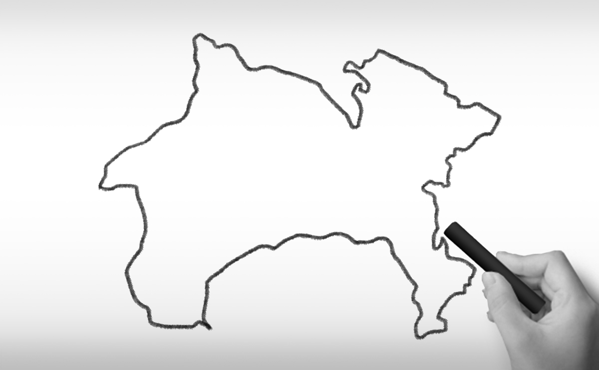 神奈川県の白地図イラスト