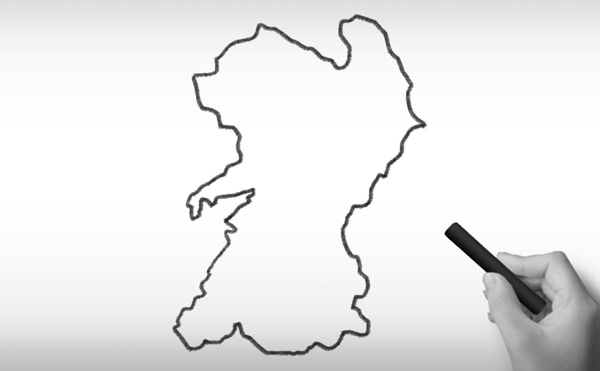 熊本県の白地図イラスト
