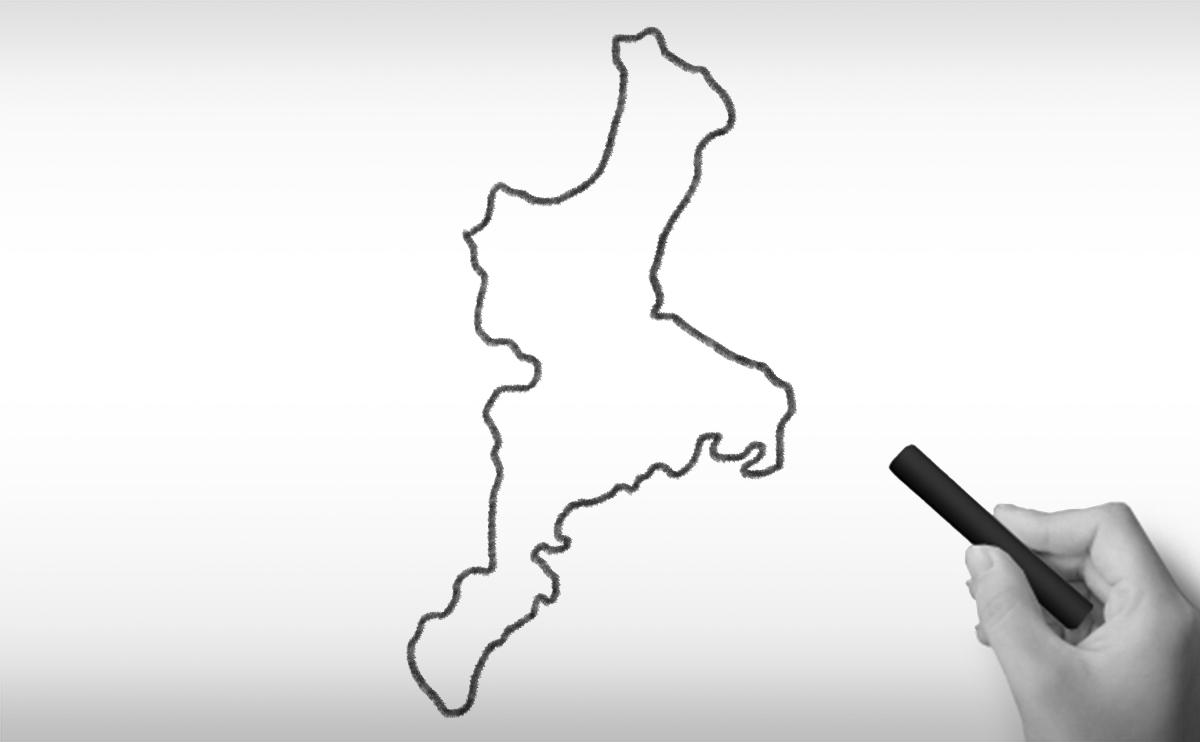 三重県の白地図イラスト