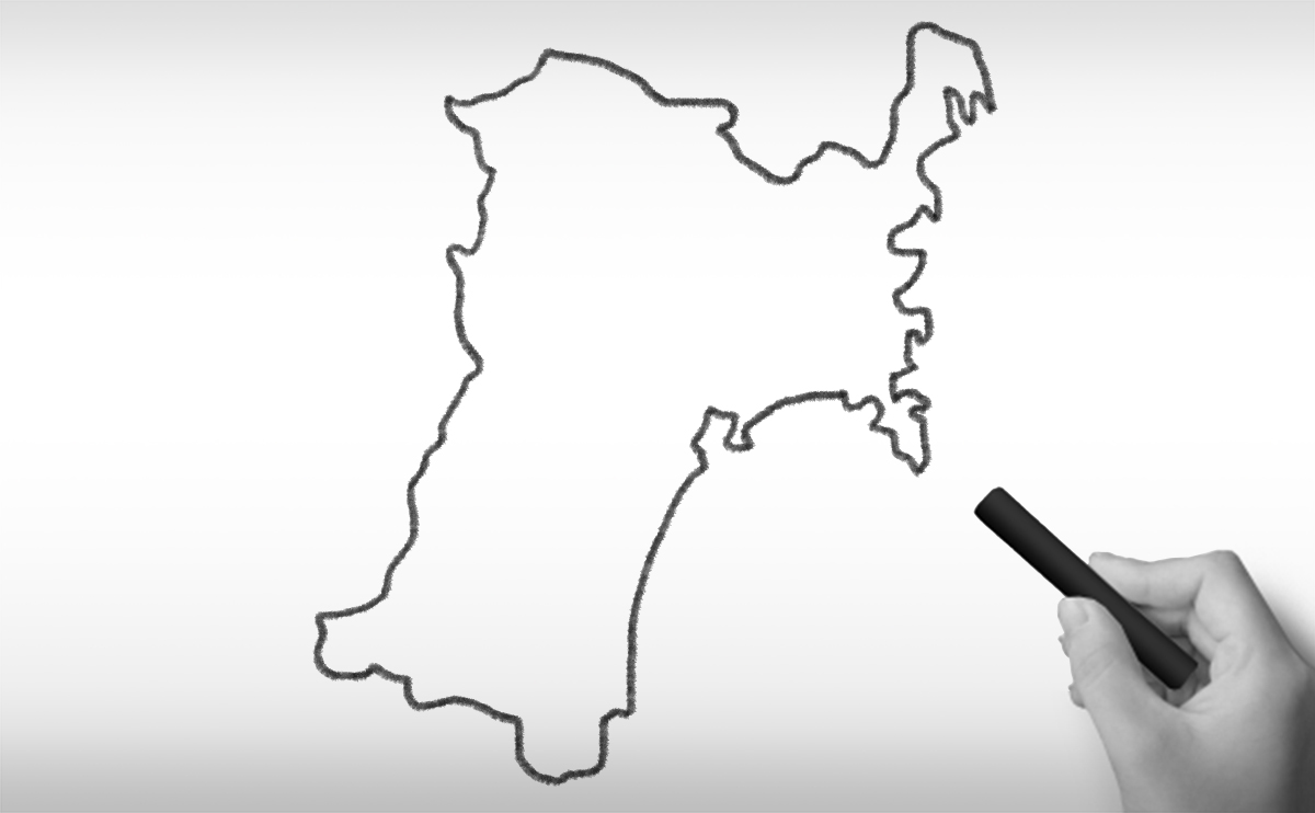 宮城県の白地図イラスト