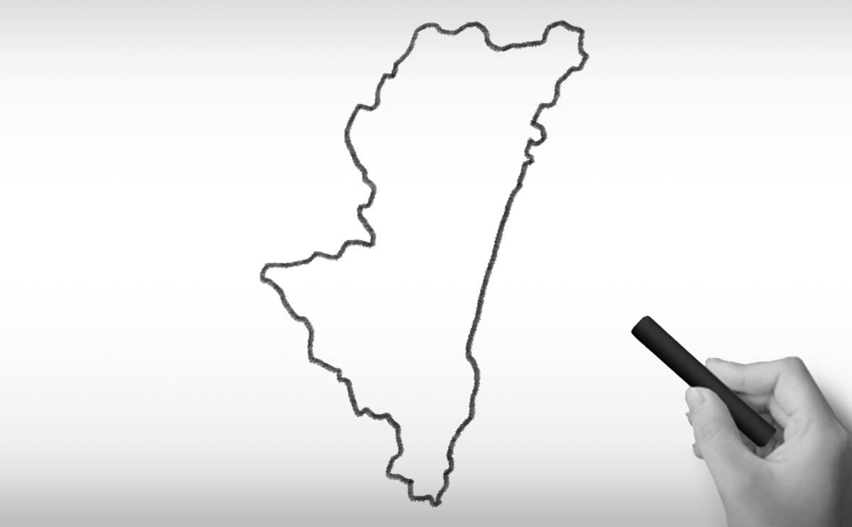 宮崎県の白地図イラスト