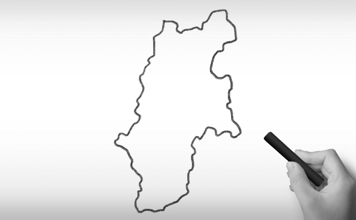 長野県の白地図イラスト