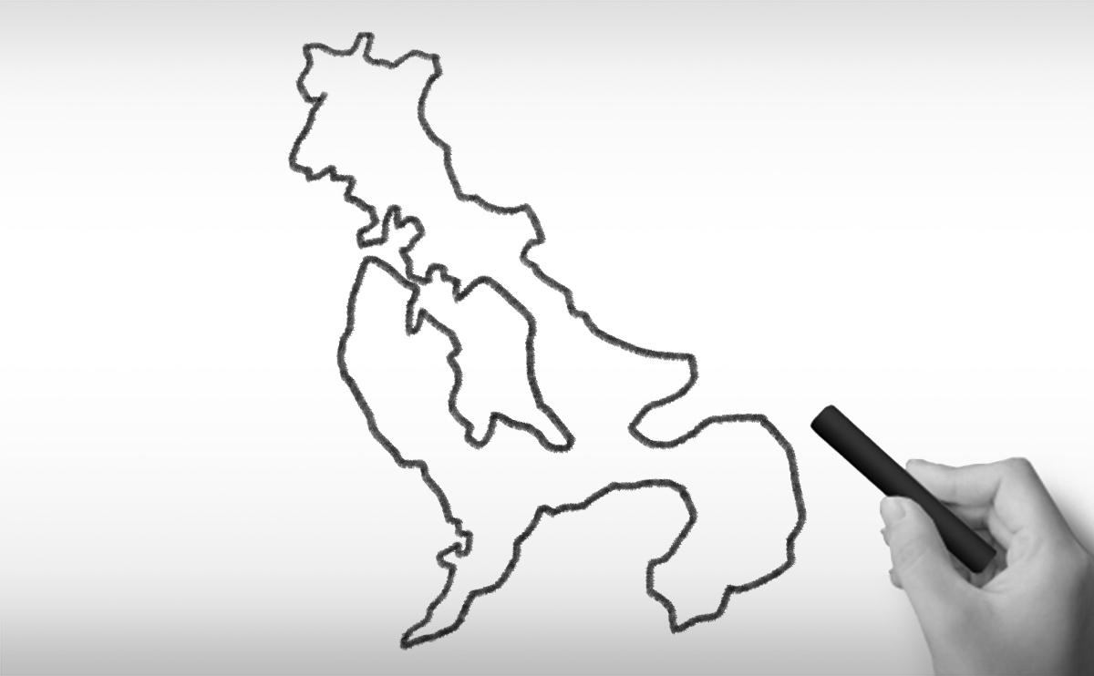 長崎県の白地図イラスト