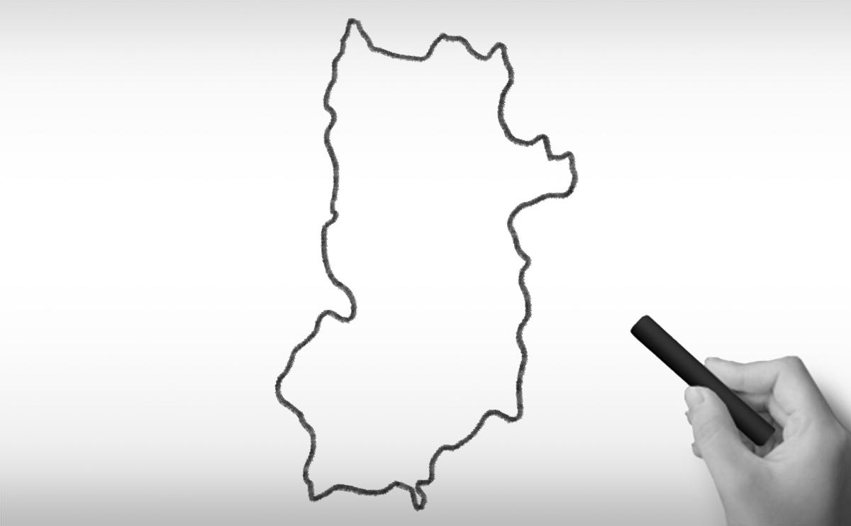 奈良県の白地図イラスト