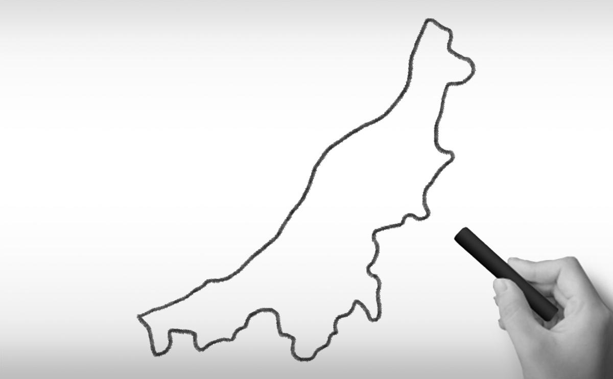 新潟県の白地図イラスト