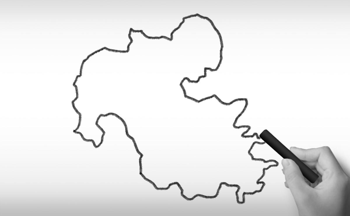 大分県の白地図イラスト