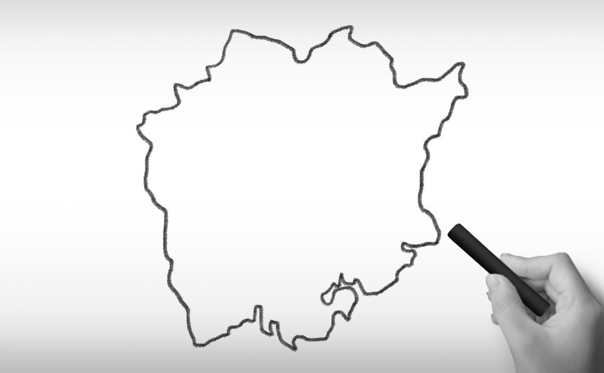 岡山県の白地図イラスト
