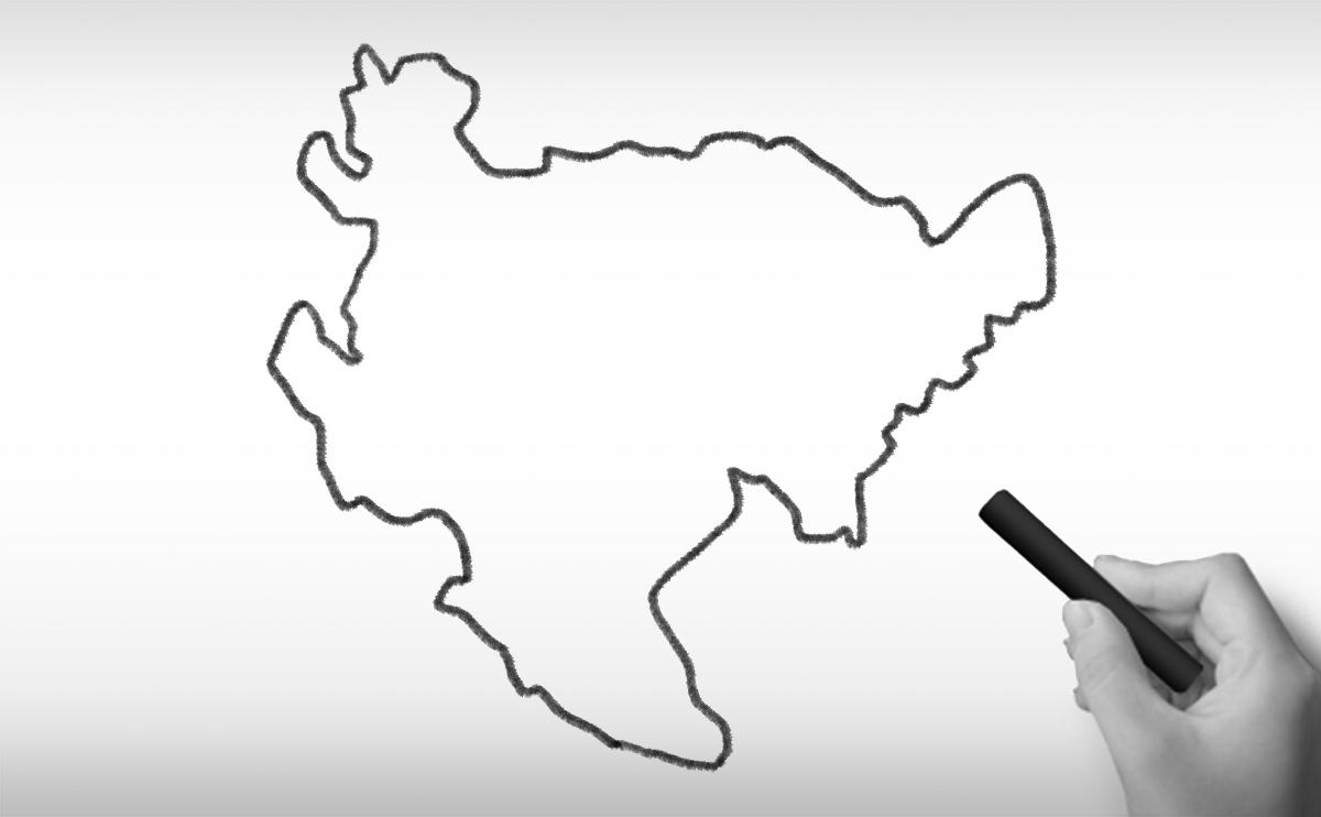 佐賀県の白地図イラスト
