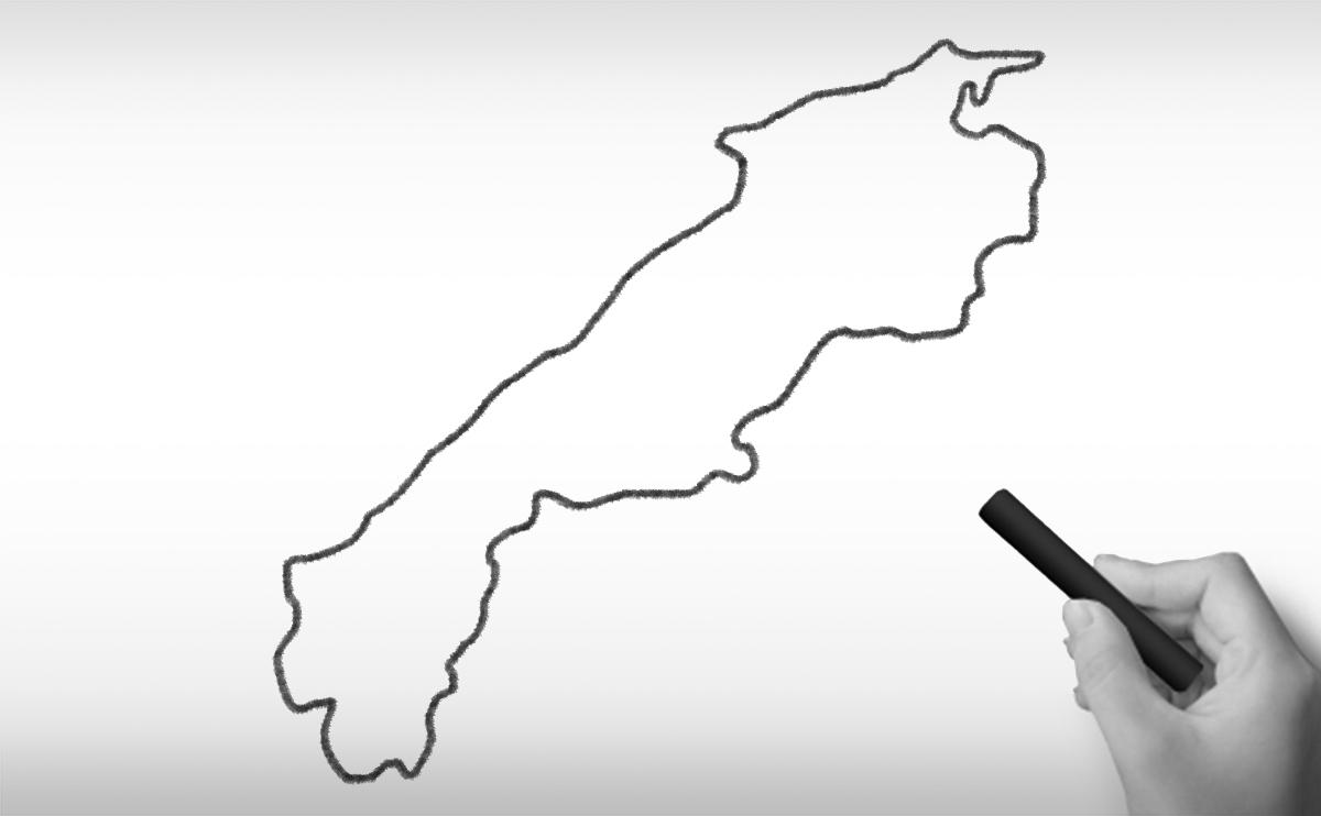 島根県の白地図イラスト