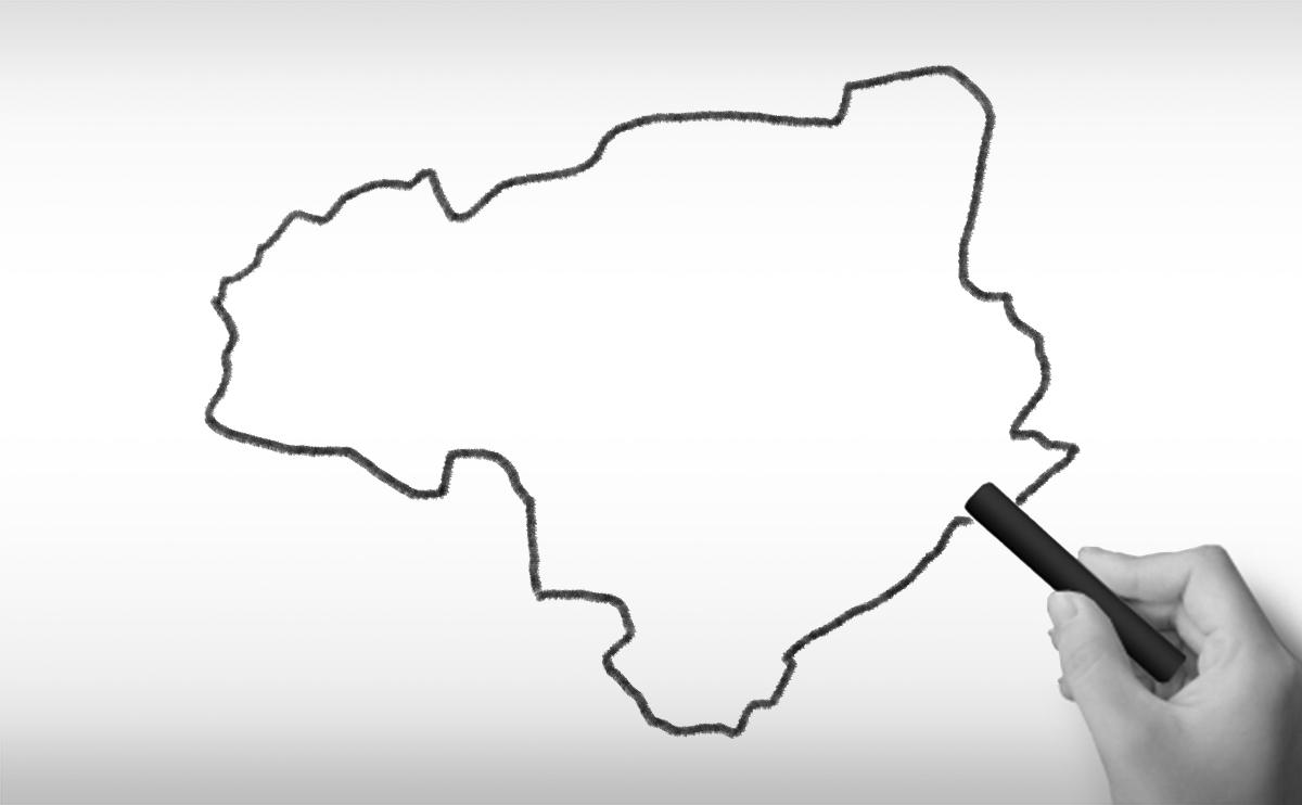 徳島県の白地図イラスト