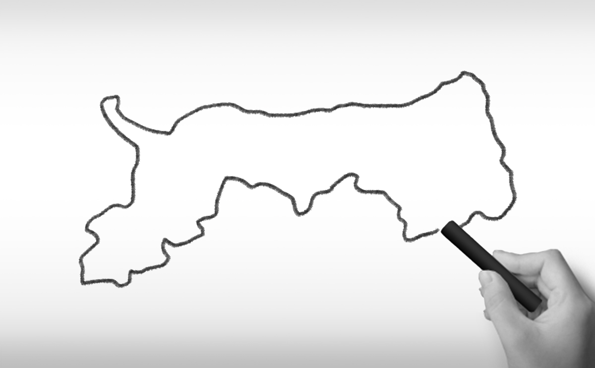 鳥取県の白地図イラスト