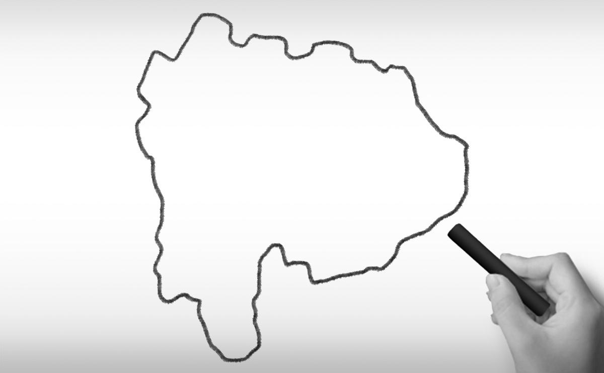 山梨県の白地図イラスト