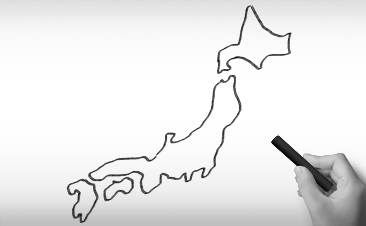 日本地図(全土)の白地図イラスト