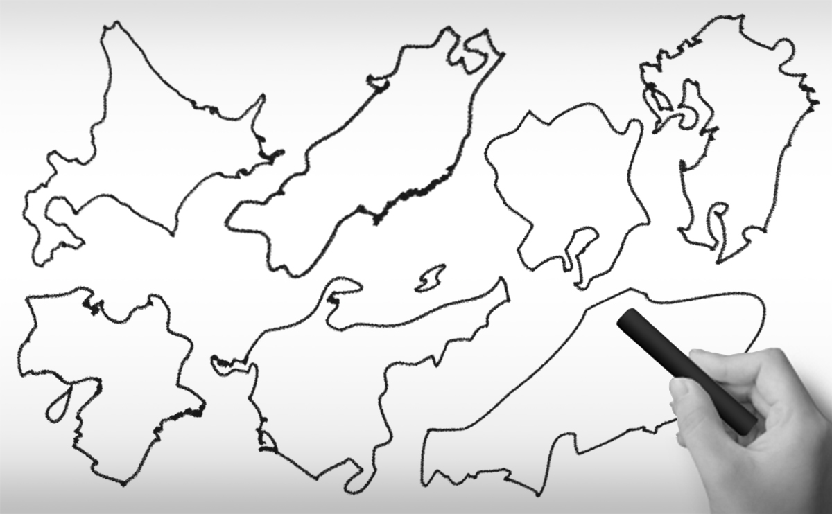 日本地図(地方)の白地図イラスト