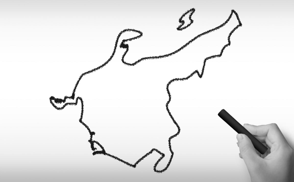 中部地方の白地図イラスト