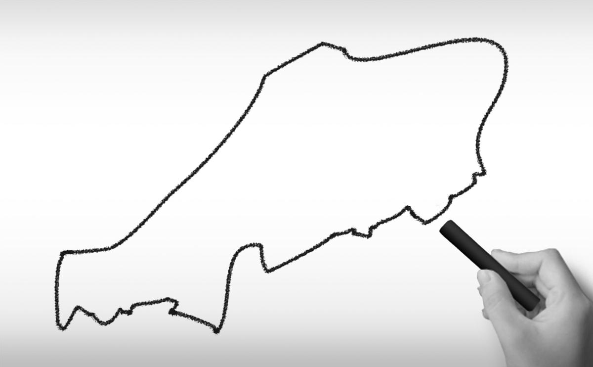 中国地方の白地図イラスト