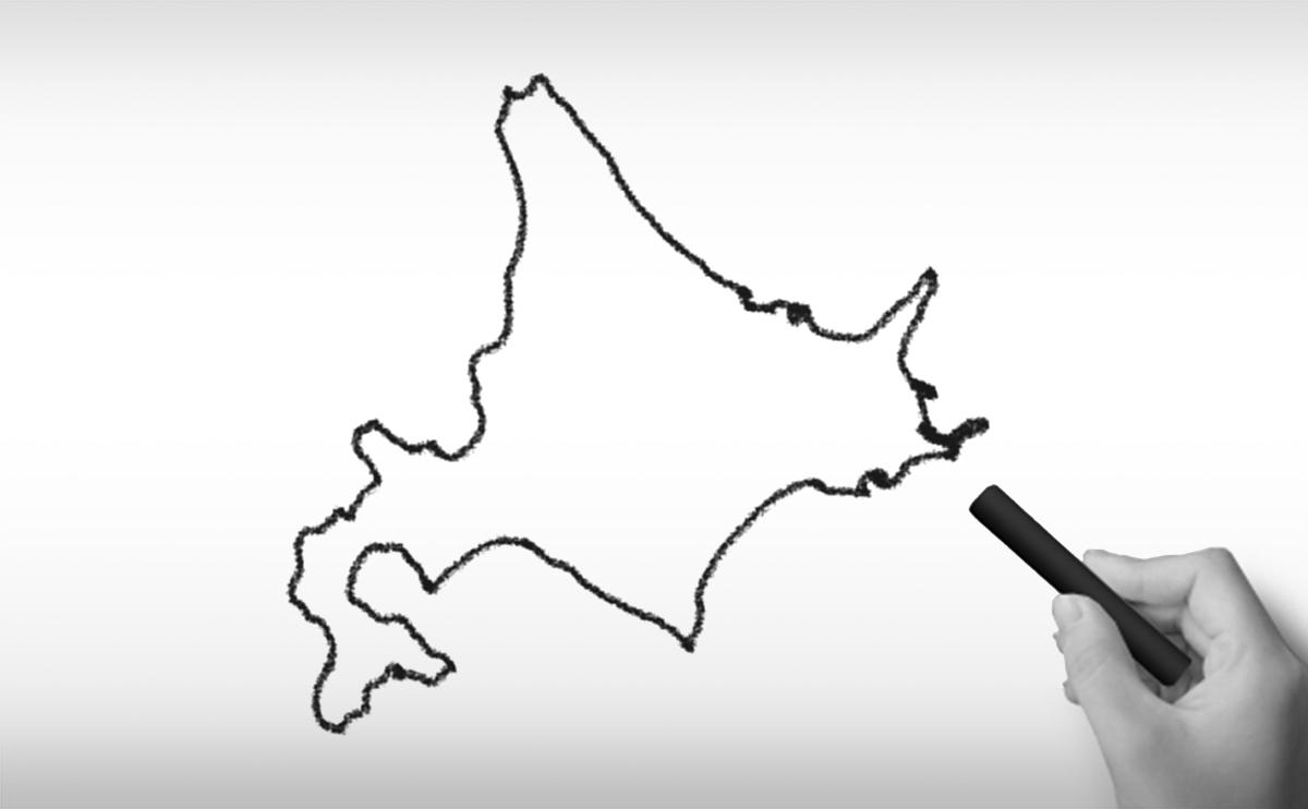 北海道の白地図イラスト