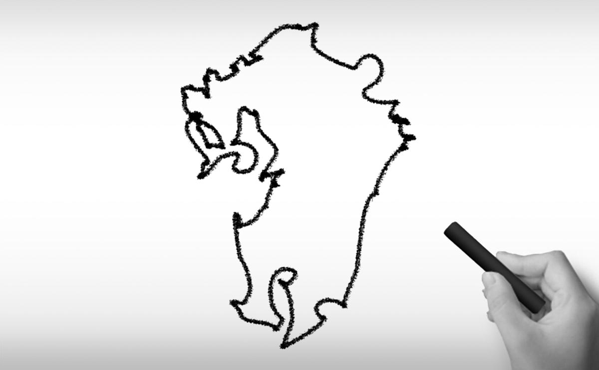 九州沖縄地方の白地図イラスト